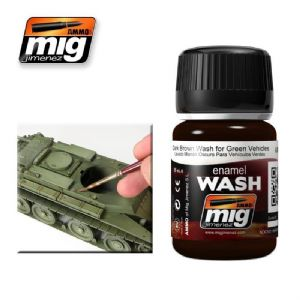 DARK BROWN WASH FOR GREEN VEHICLES<br> A.MIG-1005
